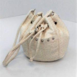 Bueno Ostrich Drawstring Bucket Shoulder Bag